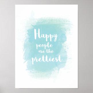 幸せな人々は最もかわいらしい水彩画です ポスター