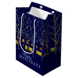 幸せな休日お祝い都市ライト ミディアムペーパーバッグ