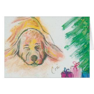 幸せな休日によってはバセットハウンド犬のクリスマスが夢を見ます カード