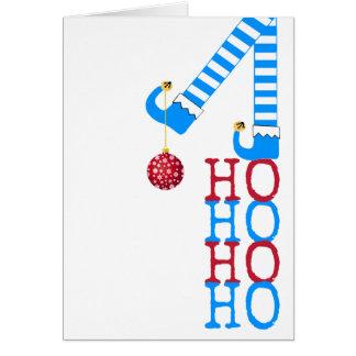 幸せな休日のおもしろいな小妖精や小人のHo Ho Ho写真のクリスマス カード