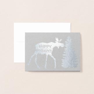 幸せな休日のアメリカヘラジカおよび木 箔カード
