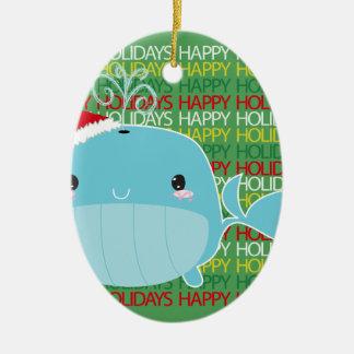 幸せな休日のクジラ セラミックオーナメント