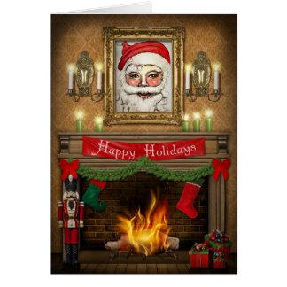 幸せな休日のクリスマスのくるみ割りの暖炉 カード