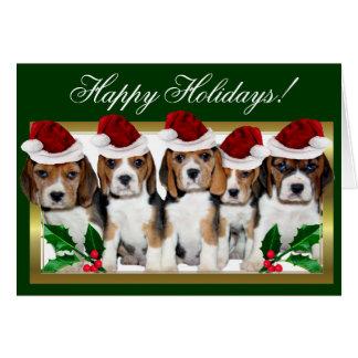 幸せな休日のクリスマスのビーグル犬の子犬カード カード