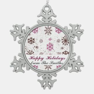 幸せな休日のクリスマスの挨拶の雪片 スノーフレークピューターオーナメント