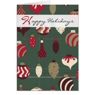 幸せな休日のクリスマスオーナメントの赤い緑金ゴールド カード