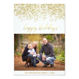 幸せな休日のグリッターのクリスマスカード 12.7 X 17.8 インビテーションカード