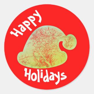 幸せな休日のサンタのステッカー、赤いおよび緑の円形 ラウンドシール
