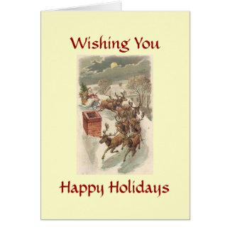 幸せな休日のトナカイのサンタのクリスマスカード カード