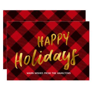 幸せな休日のバッファローの赤い格子縞および金ゴールドホイル カード