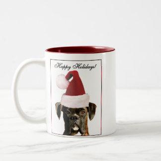 幸せな休日のボクサー犬のマグ ツートーンマグカップ