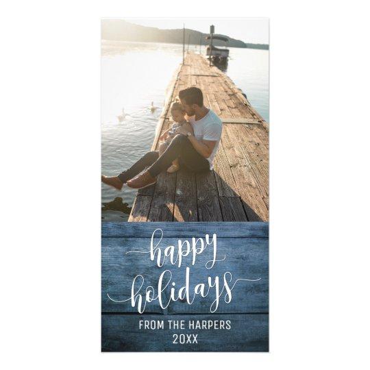幸せな休日のモダンな原稿の青く素朴な木 カード