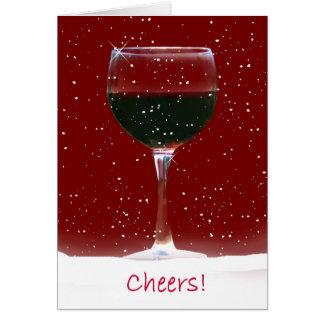 幸せな休日のワインのクリスマスカード グリーティングカード