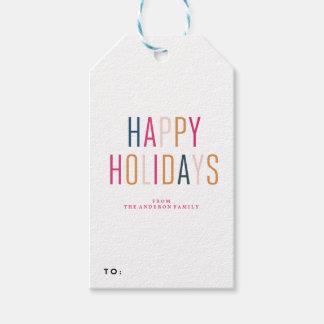 幸せな休日の休日のクリスマスのギフトのラベル ギフトタグ