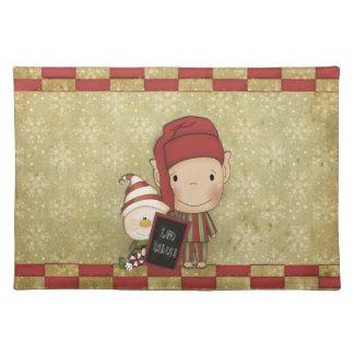 幸せな休日の印を持つ小妖精や小人そして雪だるま ランチョンマット