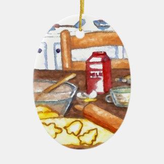 幸せな休日の台所家の料理のベーキングまたは焼くこと セラミックオーナメント