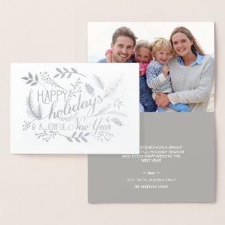 幸せな休日の植物の枝単語の芸術の銀 箔カード