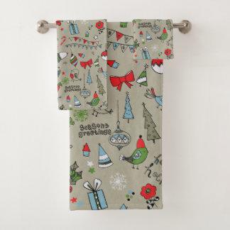 幸せな休日の歌の鳥および雪だるま バスタオルセット