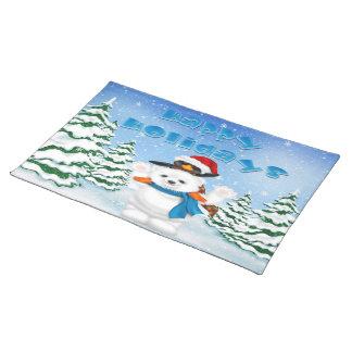 幸せな休日の白くまのペンギンの場所マット ランチョンマット