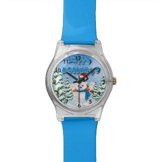 幸せな休日の白くまのペンギンの腕時計 腕時計