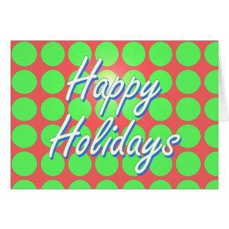 幸せな休日の赤いおよび緑の点 グリーティングカード