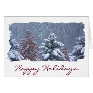 幸せな休日の雪が多く心地よい冬の不思議の国場面 カード