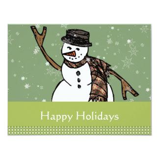幸せな休日の雪だるまの招待状 カード