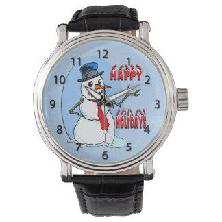 幸せな休日の雪だるまの腕時計 腕時計