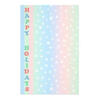 幸せな休日の雪片の文房具 便箋