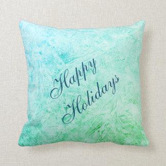 幸せな休日の青および緑の霜のデザイン クッション