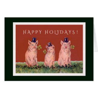 幸せな休日を望んでいる3匹の愛らしいブタ カード
