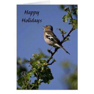 幸せな休日カードを歌っているオスのズアオアトリ カード