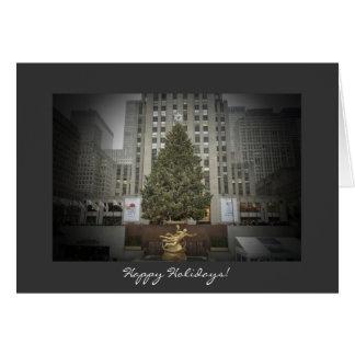 幸せな休日カード-ロックフェラーの中心の木 カード
