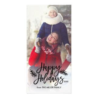 幸せな休日シックな手の教養がある休日の写真 カード