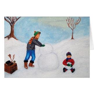 """""""幸せな休日""""とともに過ごします雪日を カード"""