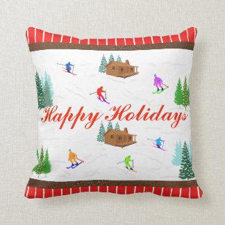 幸せな休日|の赤くストライプのなスキー小屋の枕 クッション