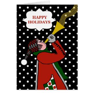 幸せな休日、トランペット奏者および水玉模様の雪 カード