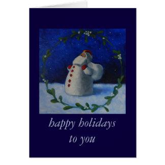 幸せな休日、ヤドリギのリースのヴィンテージサンタ カード