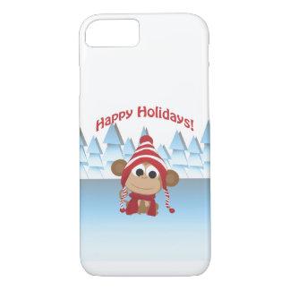 幸せな休日! 冬猿 iPhone 8/7ケース