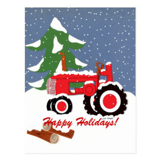 幸せな休日! 赤いトラクター ポストカード