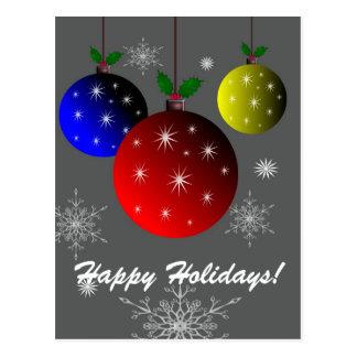 幸せな休日、雪片およびオーナメントのデザイン ポストカード
