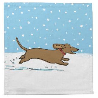 幸せな冬のウインナー犬-ダックスフントの休日 ナプキンクロス