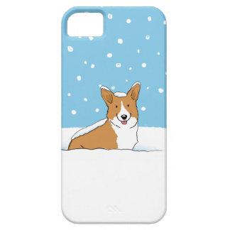 幸せな冬の雪のコーギー-かわいい漫画犬 iPhone SE/5/5s ケース