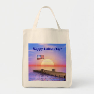 幸せな労働者の日米国の旗および波止場 トートバッグ