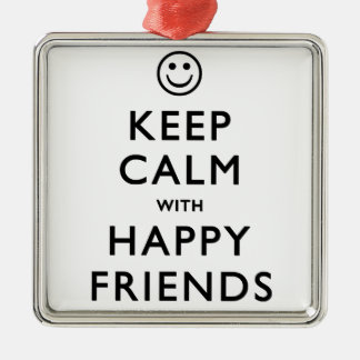 幸せな友人との平静を保って下さい メタルオーナメント