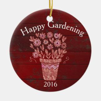 幸せな園芸クリスマスの願い セラミックオーナメント