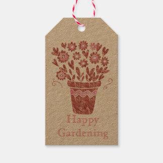 幸せな園芸植木鉢 ギフトタグ