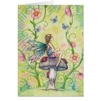 幸せな場所の花の妖精のファンタジーの芸術 グリーティングカード