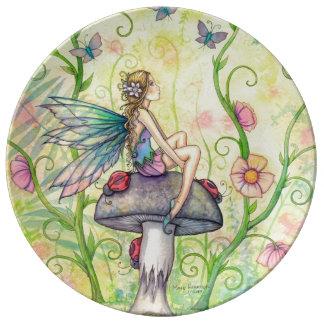 幸せな場所の花の妖精のファンタジーの芸術 磁器プレート