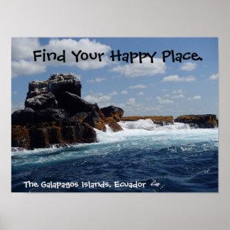 幸せな場所ガラパゴスはエクアドルを揺すります ポスター